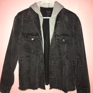 Black Denim Jean Jacket with Grey hoodie